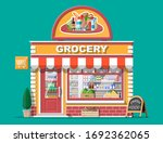 grocery store front with window ... | Shutterstock .eps vector #1692362065