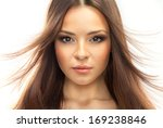 portrait of a young brunette... | Shutterstock . vector #169238846