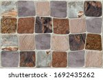 Small photo of Stone blocks decorative mosaic shape shameless Pattern in wall background for wall an floor