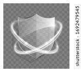 3d Transparent Shield Icon Wit...