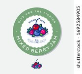 label for mixed berry jam.... | Shutterstock .eps vector #1692584905
