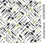 kitchen tools pattern design....   Shutterstock .eps vector #169258598
