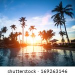 beautiful sunset at a beach... | Shutterstock . vector #169263146