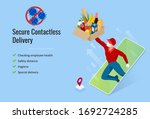 isometric delivery man or... | Shutterstock .eps vector #1692724285