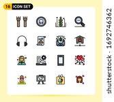 pictogram set of 16 simple flat ...