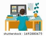the teacher conducts online...   Shutterstock .eps vector #1692880675