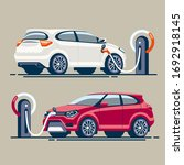 two electric cars at a gas... | Shutterstock . vector #1692918145