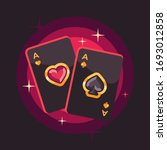 two shiny playing card aces on... | Shutterstock .eps vector #1693012858