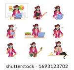 businesswoman wearing a medical ... | Shutterstock .eps vector #1693123702