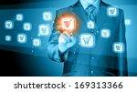 businessman pushing shopping...   Shutterstock . vector #169313366