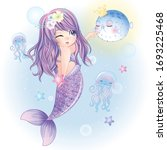 hand drawn cute mermaid...   Shutterstock .eps vector #1693225468