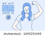 the masked girl raised his fist ... | Shutterstock .eps vector #1693251445