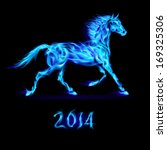 Raster version. New Year 2014: blue fire horse on black background. - stock photo