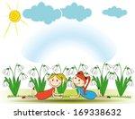 small and smile girsl in spring ...   Shutterstock .eps vector #169338632