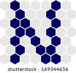 hexagon font  n | Shutterstock .eps vector #169344656