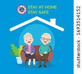 happy elder couple sitting stay ... | Shutterstock .eps vector #1693514152