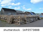 Wooden Lobster Traps Stacked...