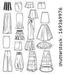 set of skirts isolated on white ... | Shutterstock .eps vector #169369976