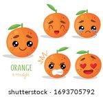 set of emoji orange with... | Shutterstock .eps vector #1693705792