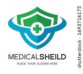 medical shield vector logo... | Shutterstock .eps vector #1693716175