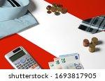 Austria Flag On Minimal Money...