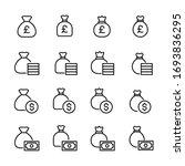 set of money bag related vector ... | Shutterstock .eps vector #1693836295