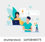 couple texting messages to each ...   Shutterstock .eps vector #1693848475