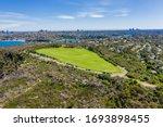 Small photo of Aerial view on Tania Park ans Dobroyd Head, Sydney, Australia. View on Sydney harbourside suburb from above. Aerial view on Tania Park, Dobroyd Head and Sydney city in the background.