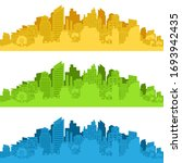 city landscape. city silhouette ... | Shutterstock .eps vector #1693942435