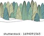 landscape line art ink drawing  ... | Shutterstock .eps vector #1694091565