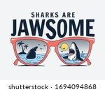 vector sun glasses with shark... | Shutterstock .eps vector #1694094868