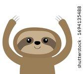 sloth icon. cute cartoon kawaii ... | Shutterstock .eps vector #1694135488