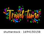 travel time  colorful vector... | Shutterstock .eps vector #1694150158