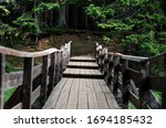 Wooden Bridge To The Forest At...