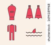 set shark fin in ocean wave ... | Shutterstock .eps vector #1694189968