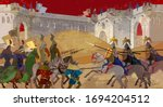 Medieval battle scene. Middle Ages, parchment concept. Historical miniature art. Knights, cavalry, archers. Siege of the castle. Ancient book vector illustration