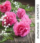 pink carnation on wooden... | Shutterstock . vector #169424972