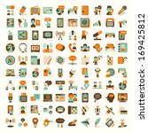 retro flat communication icons... | Shutterstock .eps vector #169425812
