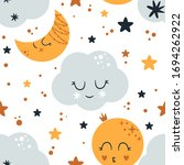 seamless pattern with moon and...   Shutterstock .eps vector #1694262922