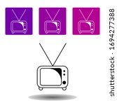 tv icon. simple outline vector...