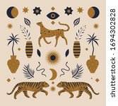 cute boho leopard and tigers.... | Shutterstock .eps vector #1694302828