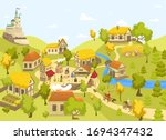 medieval village with castle ... | Shutterstock .eps vector #1694347432