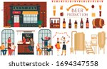 brewery beer production  people ... | Shutterstock .eps vector #1694347558