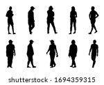 people walking on white... | Shutterstock .eps vector #1694359315