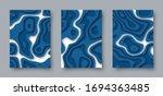 set of vector abstract 3d... | Shutterstock .eps vector #1694363485