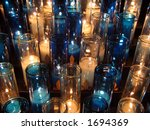 White And Blue Votive Candles...