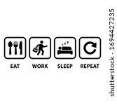 eat work sleep repeat icons on... | Shutterstock .eps vector #1694427235