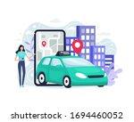 online ordering taxi car.... | Shutterstock .eps vector #1694460052