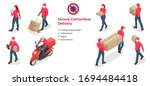Isometric Icons Of Delivery Ma...