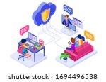 online collaboration education...   Shutterstock .eps vector #1694496538